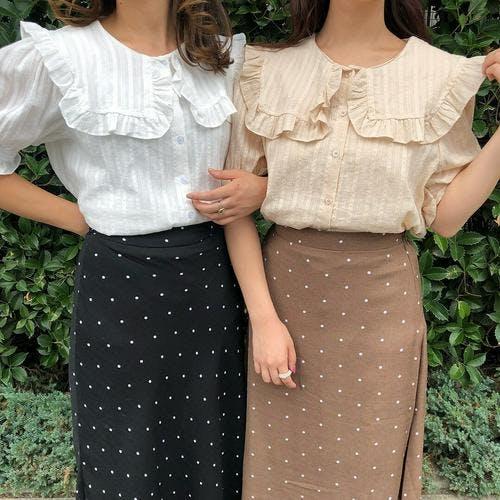 square frill blouse