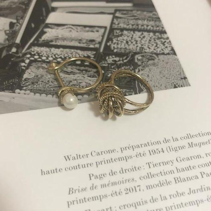 pearl crown ring set