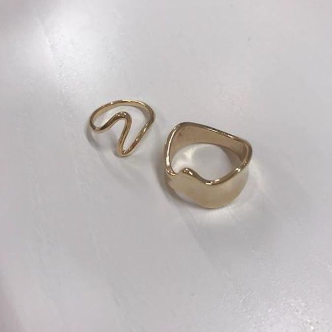 gold wave ring set