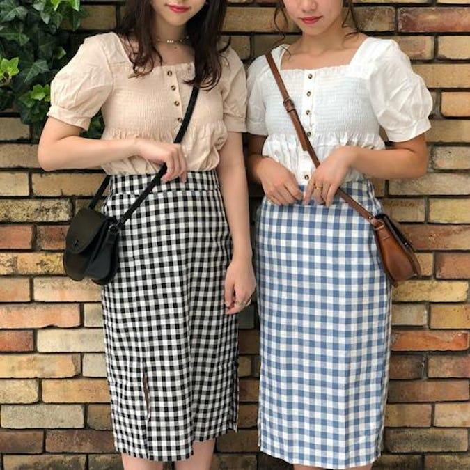 check midi skirts