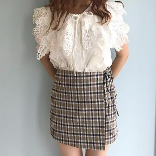 olive check skirts-0