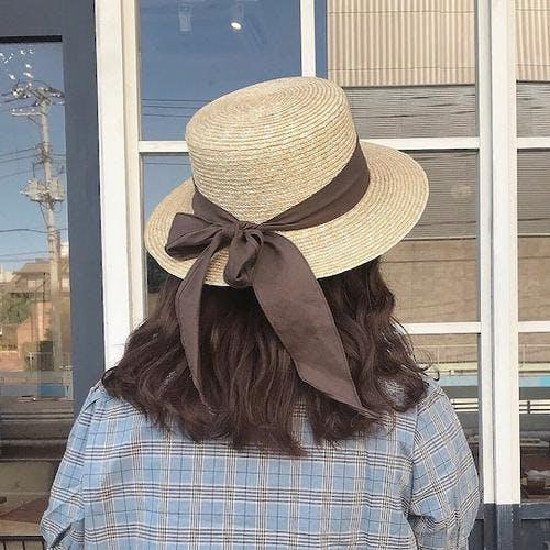 brown ribbon hat-0