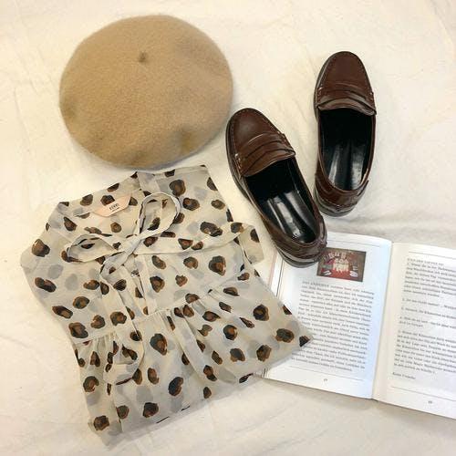 ribbon leopard blouse