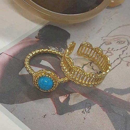blue&gold ring set-0