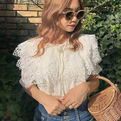 ribbon frill blouse-0