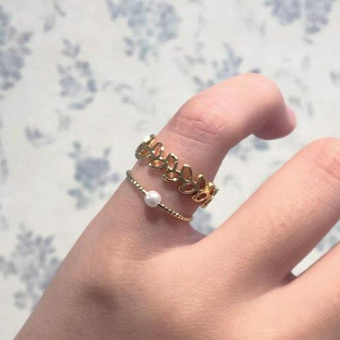 leaf&pearl ring set-0
