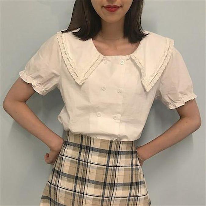 double lace blouse-0