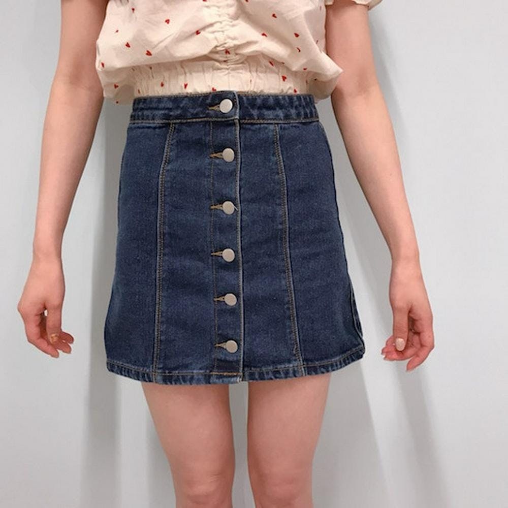 button denim skirt-0