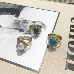 3 color stone ring set