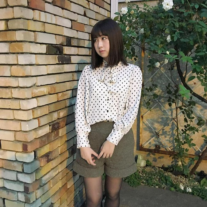 retro dot ribbon blouse