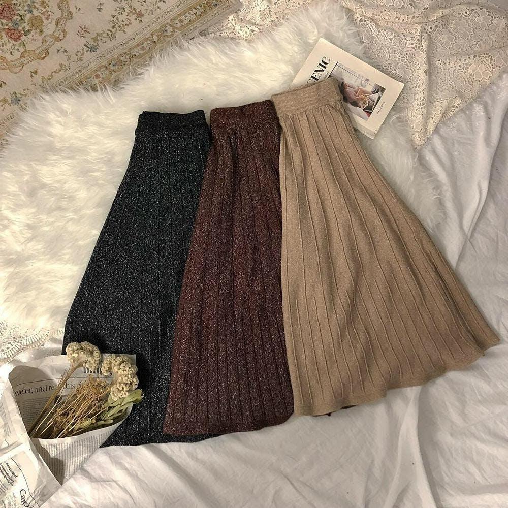 kirakira knit skirts-0