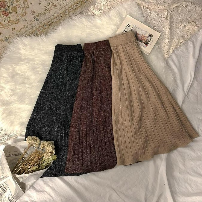 kirakira knit skirts-0