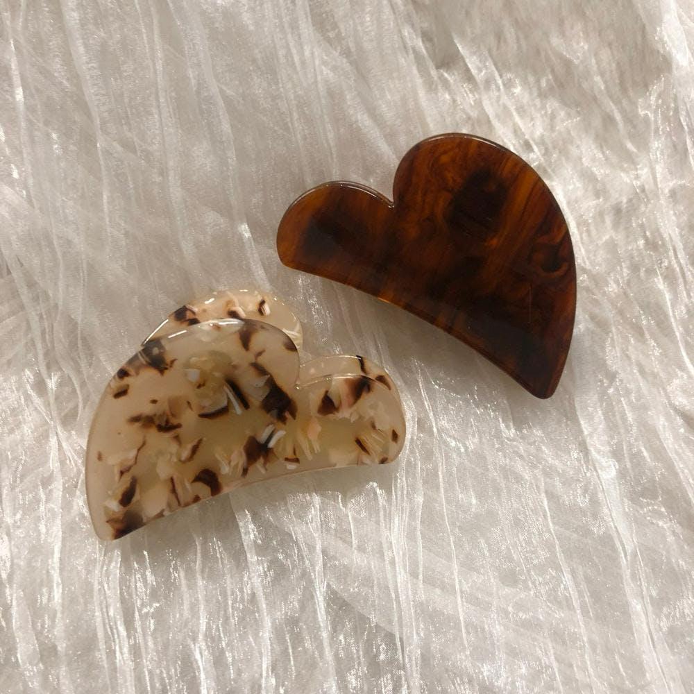 【3pieces】big heart barretta set
