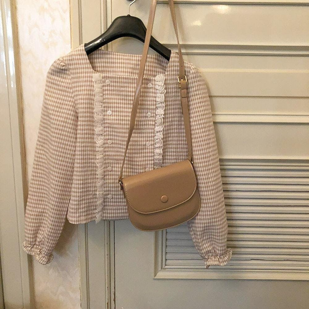 caramel check blouse