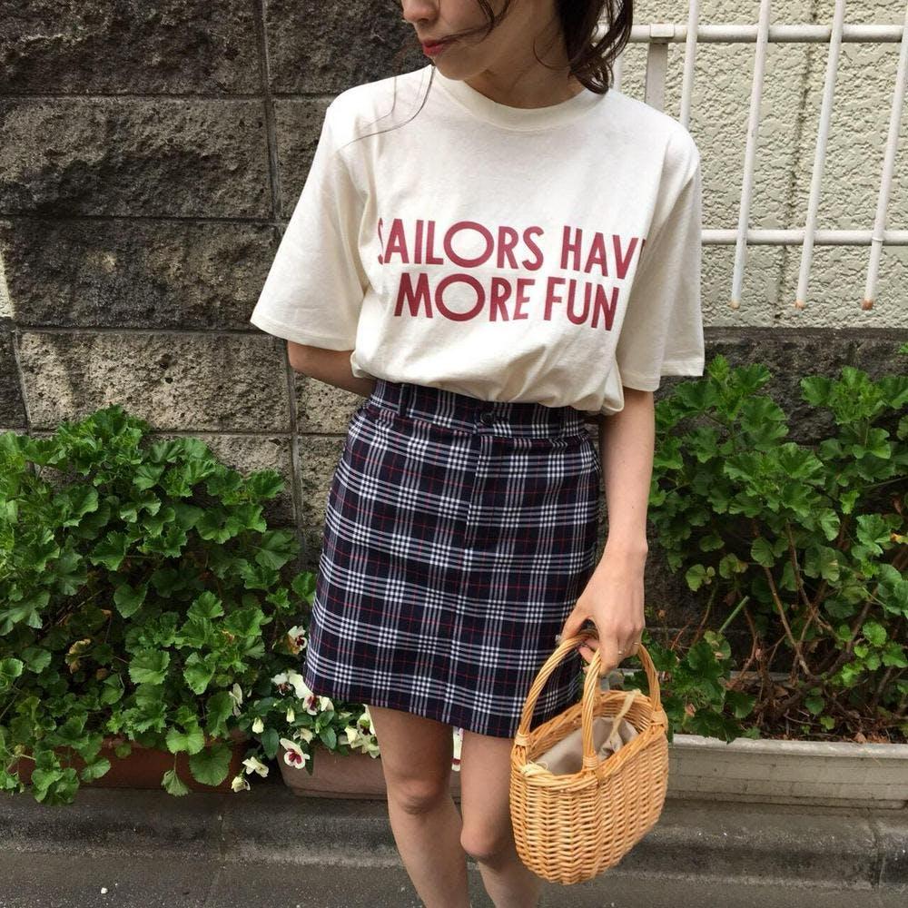 school girl check skirt