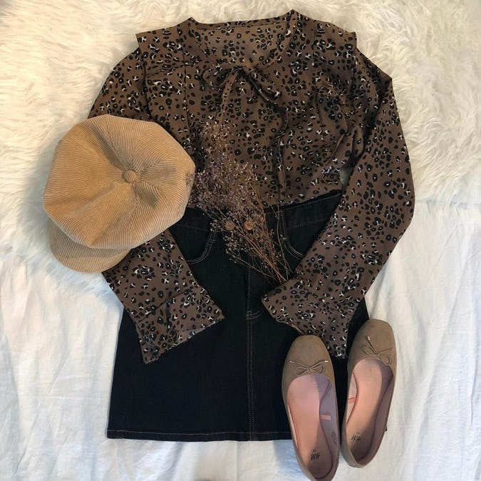 brown leopard blouse