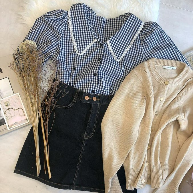 big collar lace blouse