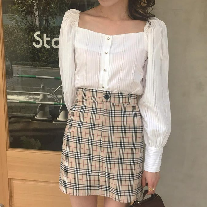 school girl check skirt-0