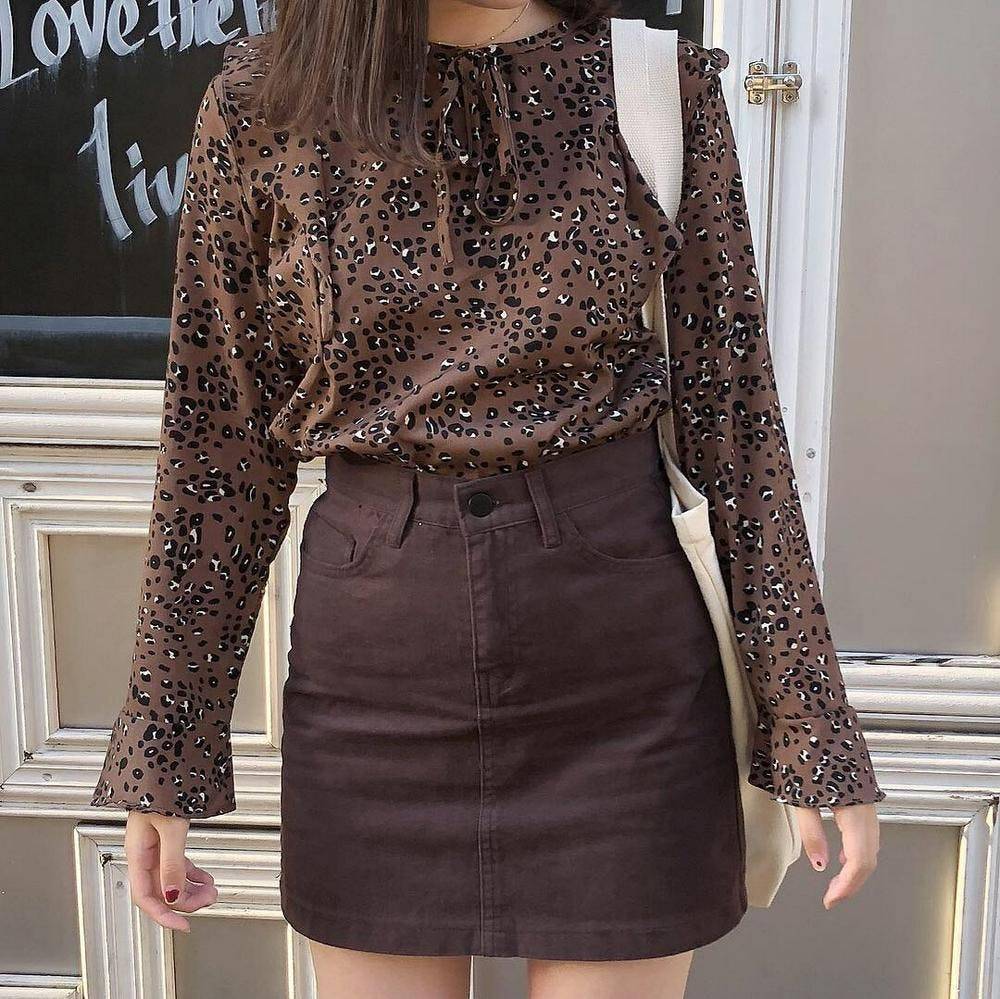 brown leopard blouse-0