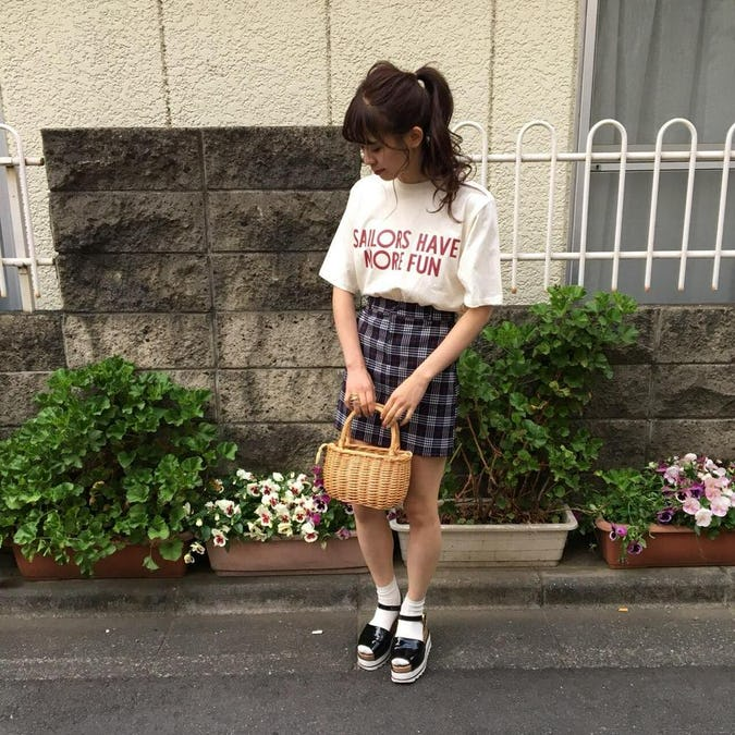 school girl check skirt