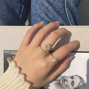 flower & pearl ring set