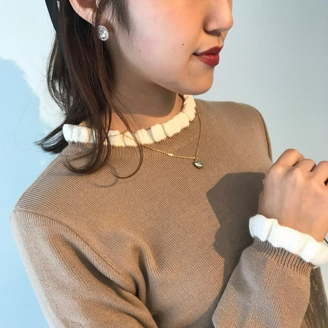 mini ruffle neck knit