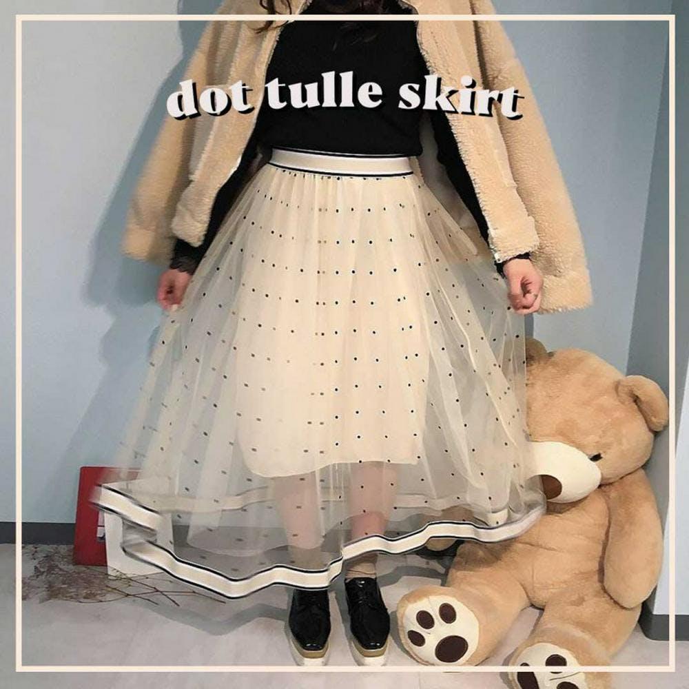 dot tulle skirt-0