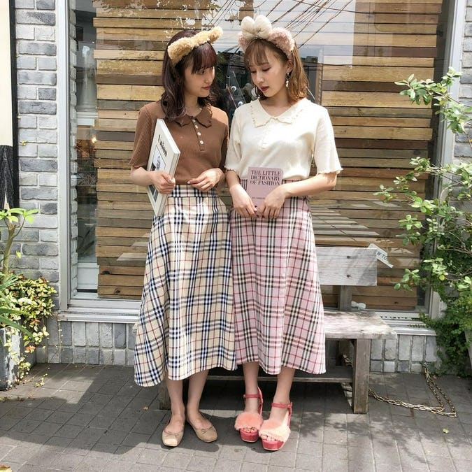 gingham long skirts