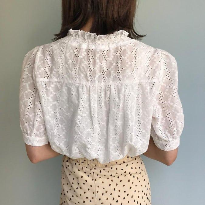 frill v neck blouse