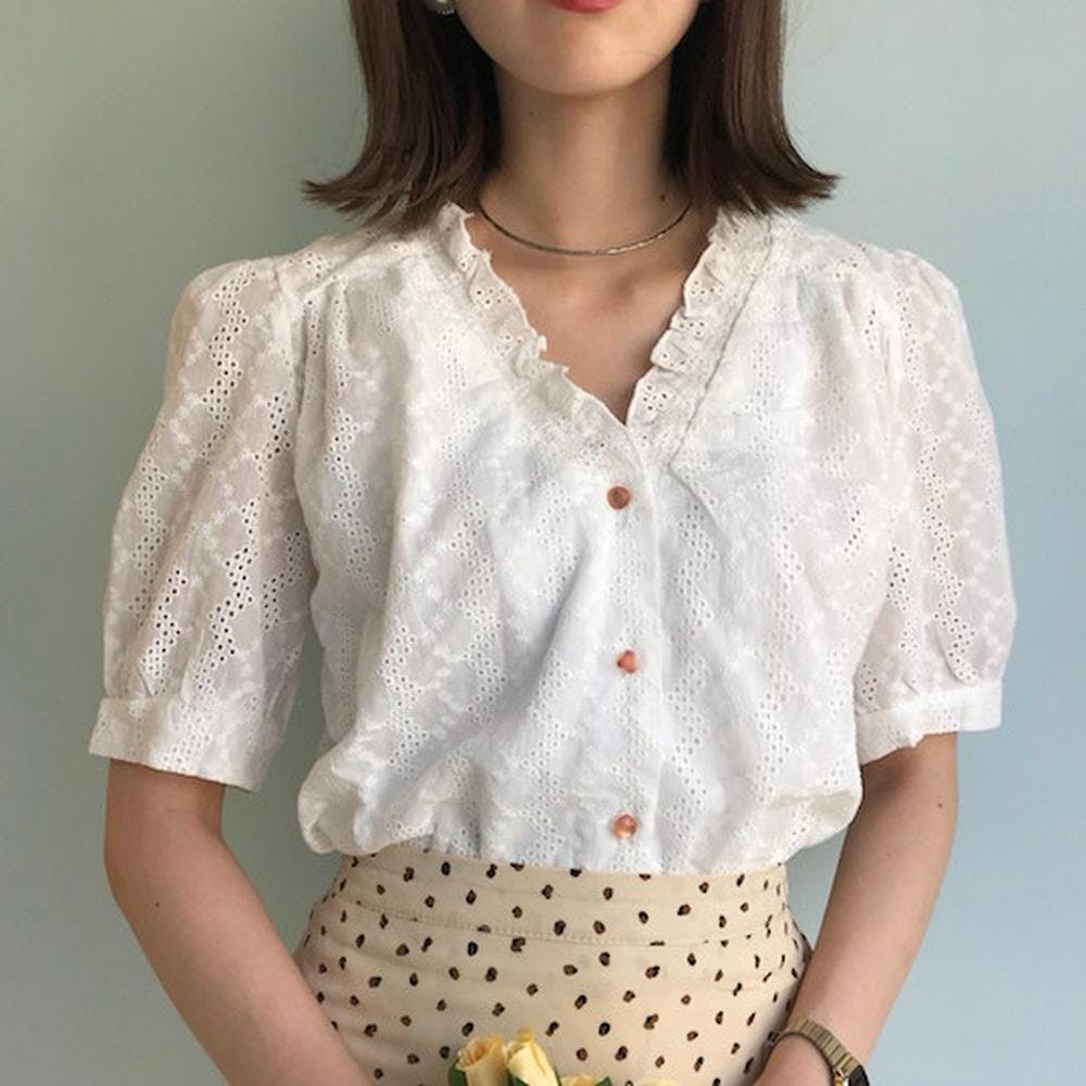 frill v neck blouse-0