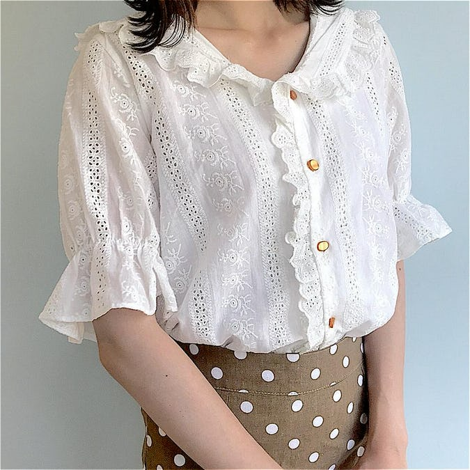frill white blouse