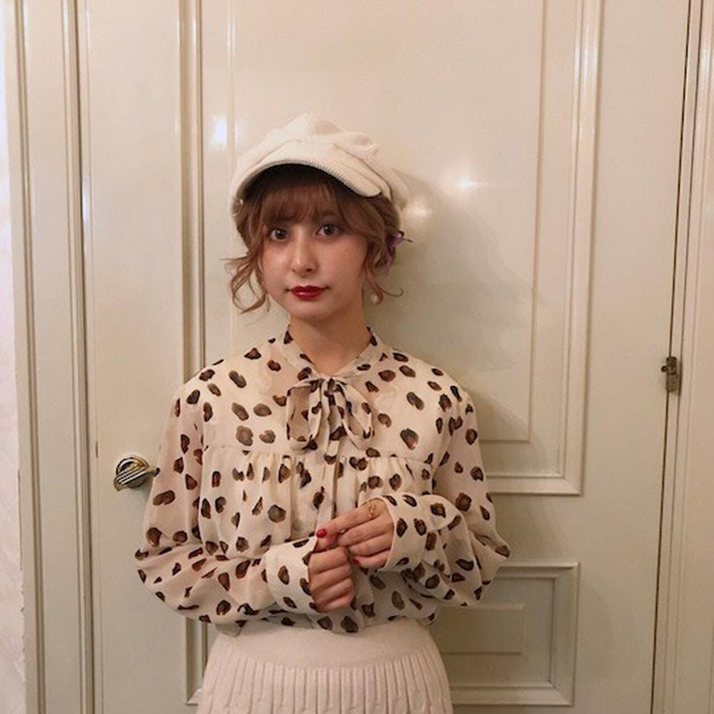 ribbon leopard blouse-0