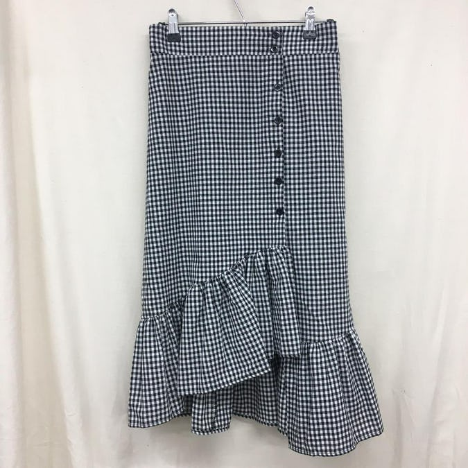 gingham lace skirt