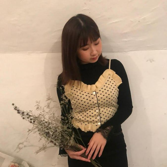 lace neck knit T