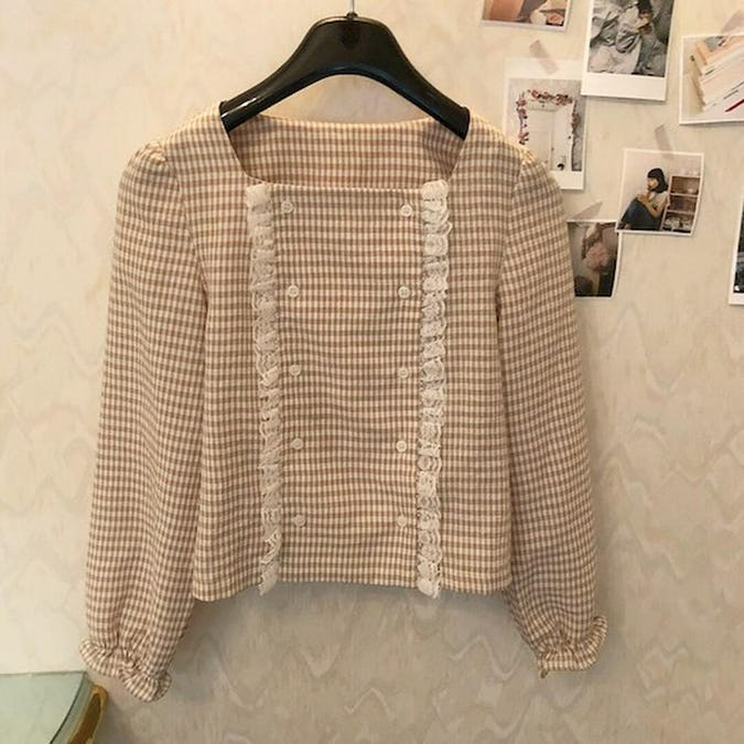 caramel check blouse-0