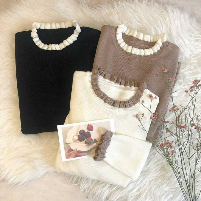 mini ruffle neck knit-0