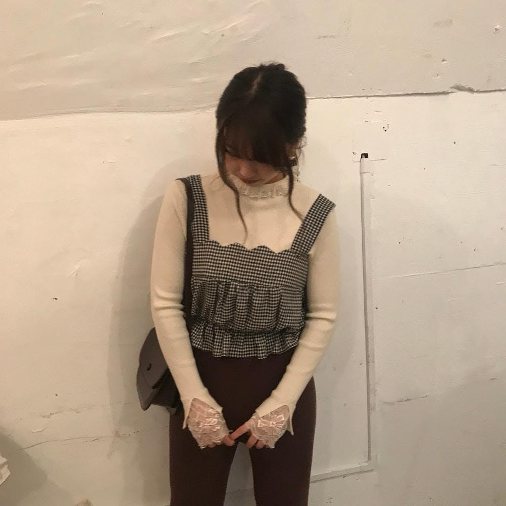 【2/20~順次発送】lace neck knit T-0