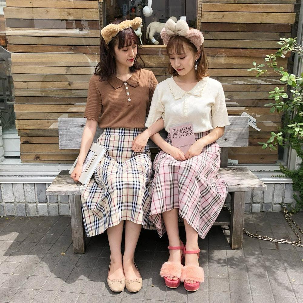 gingham long skirts-0