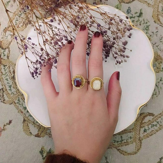 antique big jewel ring set-0
