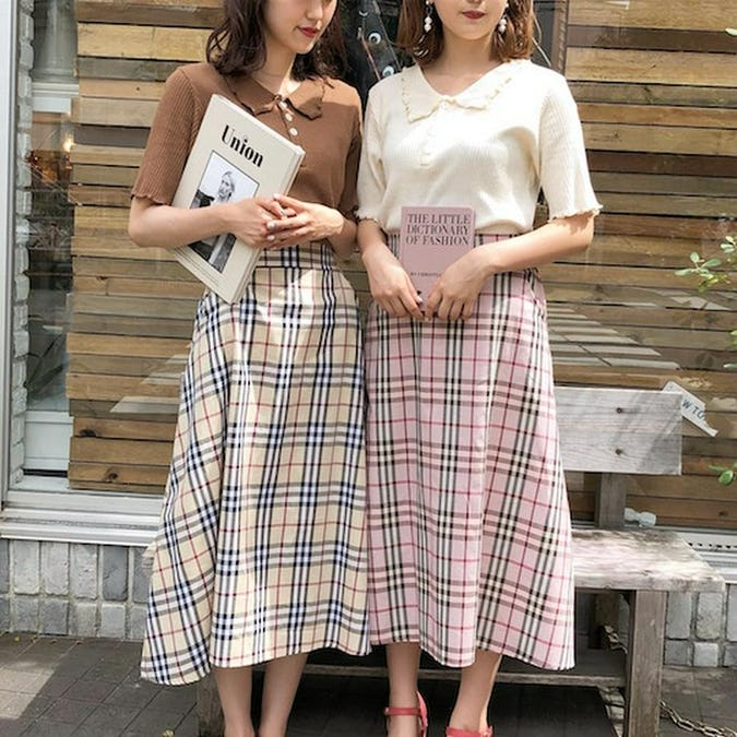 gingham long skirts-0