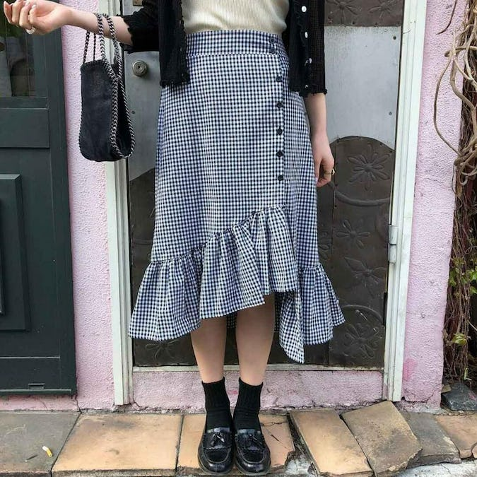gingham lace skirt-0