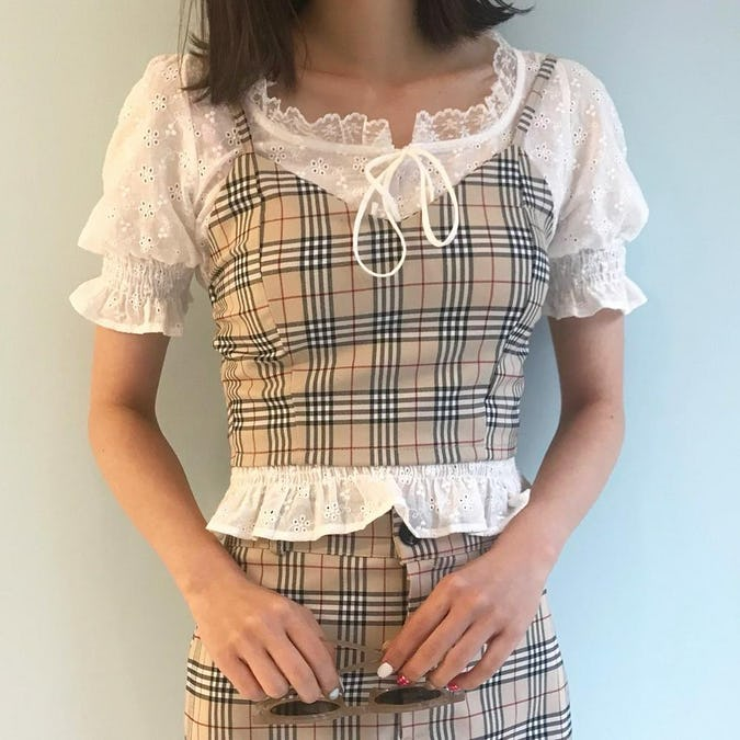 gingham check sleeve