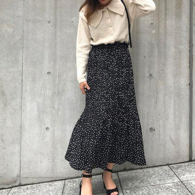 dot shirring skirts-0