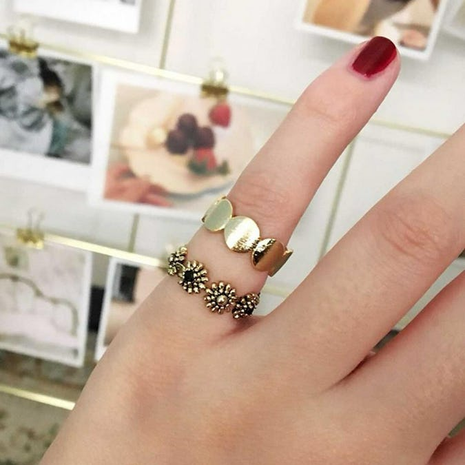 pebble line ring set-0