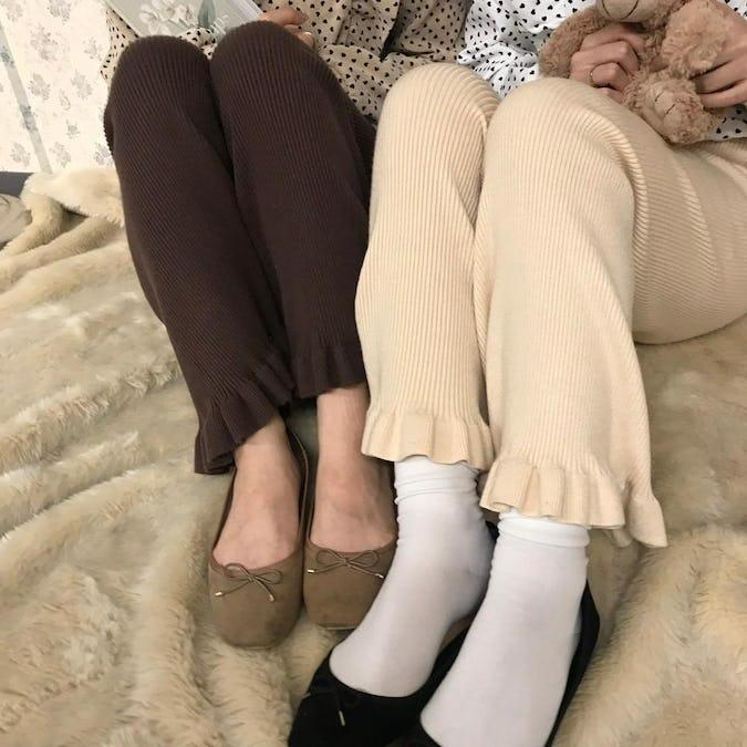 frill knit pants