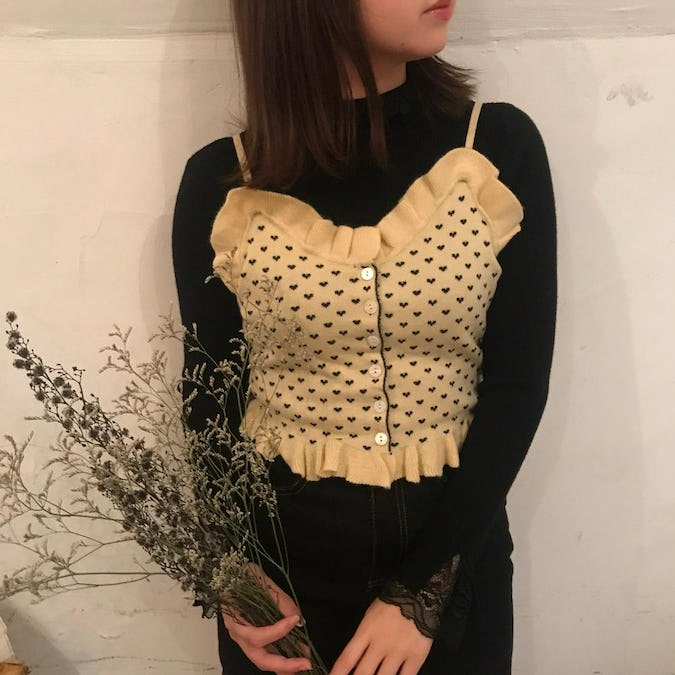 heart knit bustier