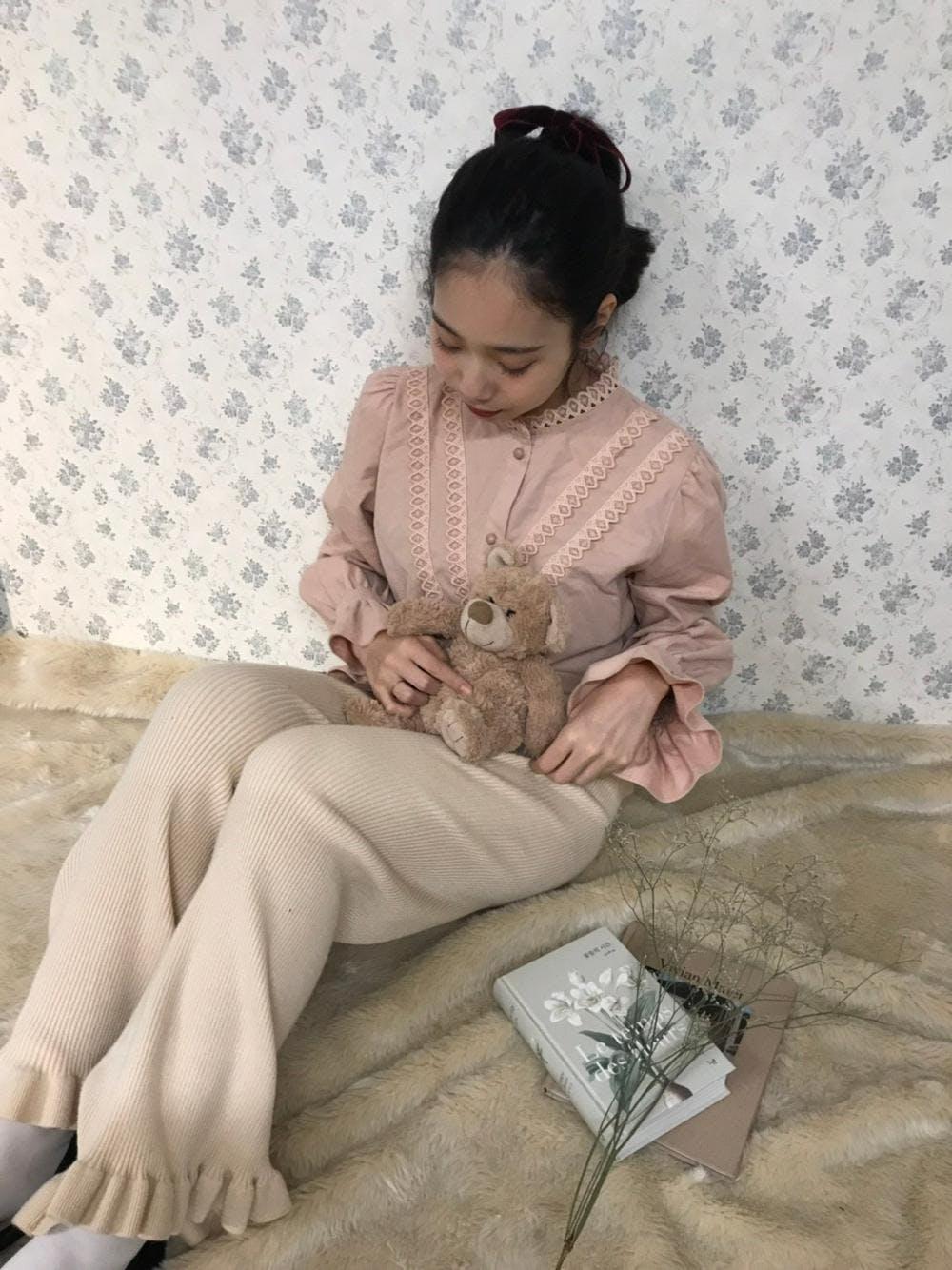 frill knit pants-0