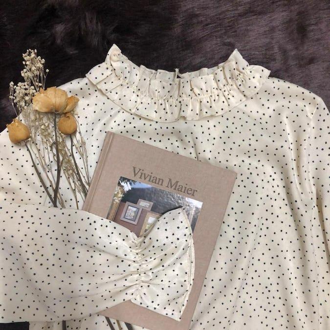 silk dot blouse