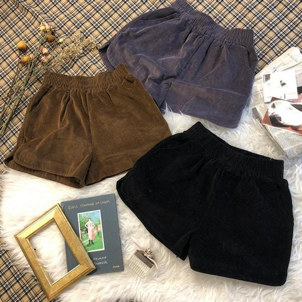 corduroy short pants-0