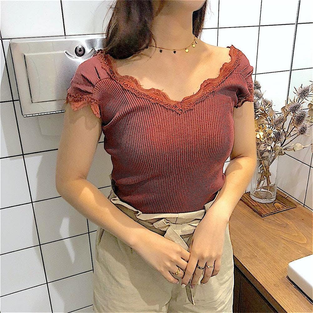 v neck lace inner-0